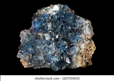 celestine mineral isolated on the black background