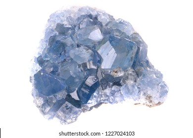 celestine mineral isolated on the white background