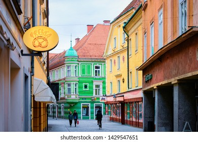 Celje, Slovenia - March 27, 2019: Cityscape of Celje old town in Preshernova Street in Slovenia. Architecture in Slovenija. Travel