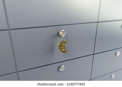 cell in the bank key chain on the keys sign euro 3D illustration, 3D rendering