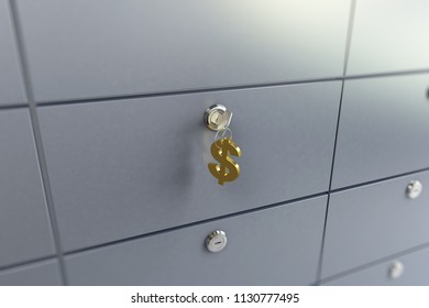 cell in the bank key chain on the keys sign dollar   3D illustration, 3D rendering