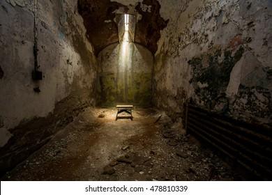 Cell block in the Eastern State Penitentiary. Philadelphia, Pennsylvania