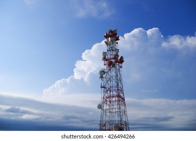cell broadcast tower in front of thunderstorm