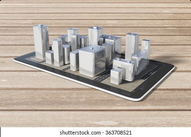 Cell phone with 3D city buildings on a wooden table, navigation concept