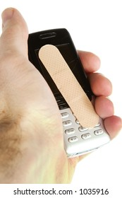 A cell phone with an adhesive bandage being held in a males hand, isolated on white with clipping path.