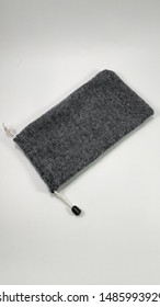 Cell phone holster from soft cloth with modern gray color to save cellphone. handphone accessories - image