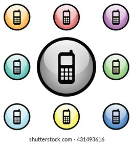 Cell Phone Icon Glass Button Icon Set.  Raster Version