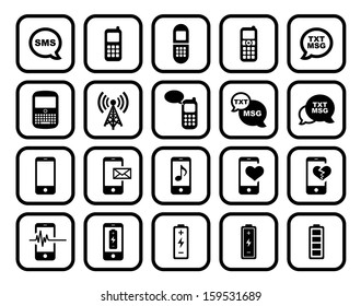 Cell Phone / Mobile Phone Square Icon Set.  Raster version.