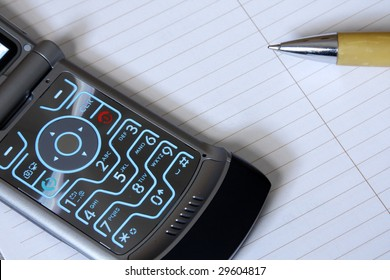 Cell phone with note pad