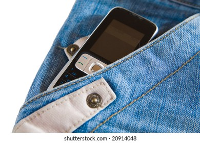 cell phone in pocket of modern fashionable jeans