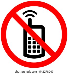 cell phone sign. mobile phone not allowed. Red prohibition symbol sign