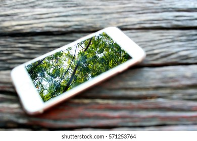 A cell phone that located on the wood table is reflect the tree