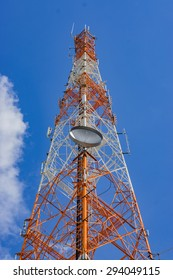 Cell phone tower with the blue sky