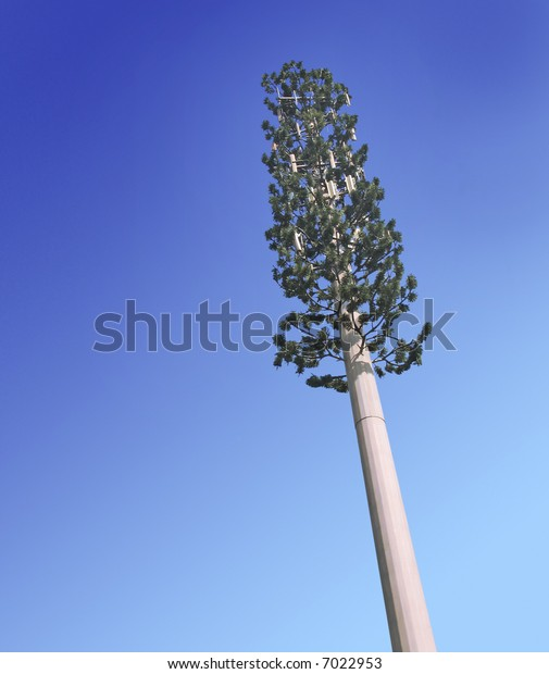 Cell phone tower disguised as a tree