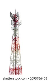Cell phone tower isolated white background.
