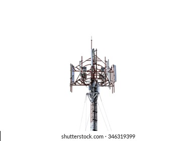 Cell phone tower on white background