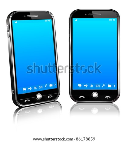 Cell Smart Mobile Phone 3D and 2D - Raster version - A vector file is also available