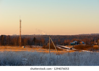 Cell tower in rural areas in winter