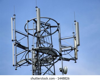 Cell tower top antennae. Mobile telephony & telecommunication - GSM technology.