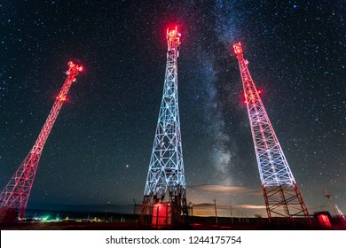 cell towers against the starry sky