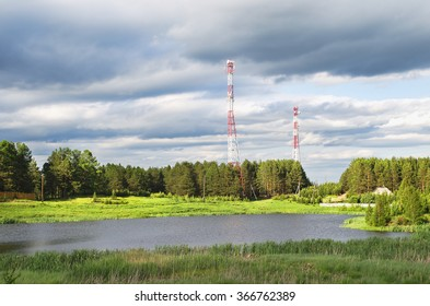 Cell towers in rural areas, in the rays of the evening sun