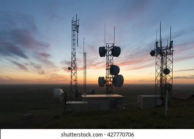 Cell Towers at Sunset. The tallest point in the palouse area of eastern Washington, Steptoe Butte, provides the perfect spot for communication towers.