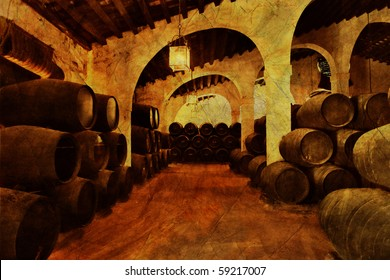 Cellar with barrels of sherry in grunge and retro style . Spain