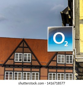 Celle, Germany, May 11, 2019:  O2 shop. O2 is a European telecommunications company, specialized in mobile telephony owned by Telefonica
