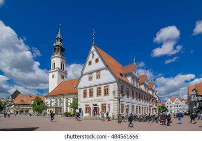 Celle, GERMANY - September 06, 2016: Old town hall (rathaus) and bell tower of St. Mary's Church, Celle, Lower Saxony, Germany, Europe