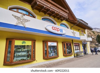 CELLEDIZZO, ITALY - MARCH 6, 2017: Market in the center of the village on 6 March 2017 in Celledizzo, Italy. It is a small town in the popular skiing area of Val di Sole
