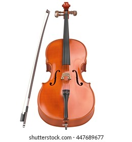 Cello brown classic wooden bow retro style. 3D graphic