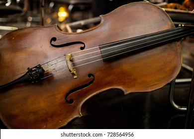 cello, double bass on stage. The magnificent double bass. Close up of contrabass on stage.