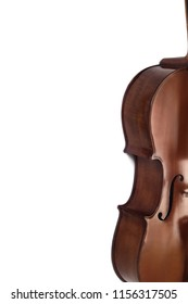 Cello orchestra music instrument closeup isolated on white. Violoncello close up