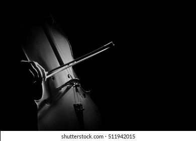 Cello player cellist playing musical instrument violoncello isolated on black