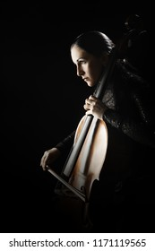 Cello player. Cellist playing violoncello. Classical musician orchestra music instrument