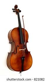 A cello in white background