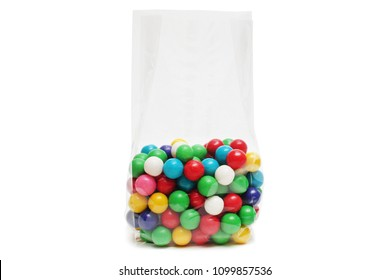 Cellophane bag for candy. White bag package template on isolated background.