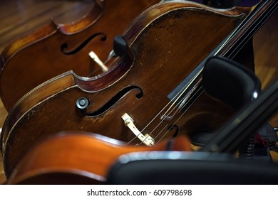 Cellos at rest before the concert