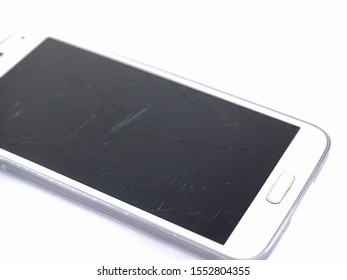 cellphone  Damaged on a white background