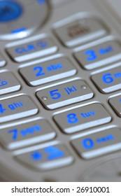A cellphone keypad closeup.