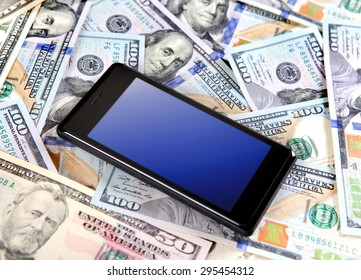 Cellphone on the American Dollars Background