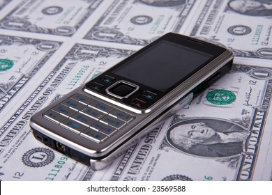 cellphone on money background