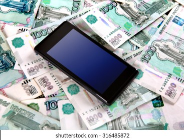 Cellphone on the Russian Currency Background