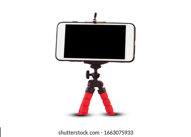 Cellphone on tripod  white background,Mobile smart phone  technology for live streaming blogger