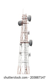 Cellphone telecommunication tower on white isolate background.