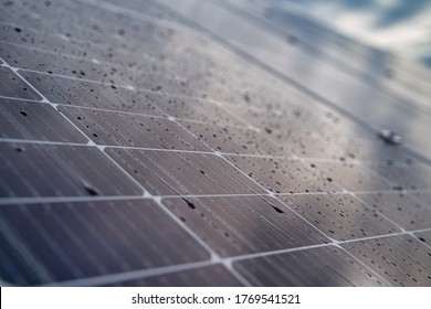 Cells of solar modules with water drops. Macro photography of solar modules.