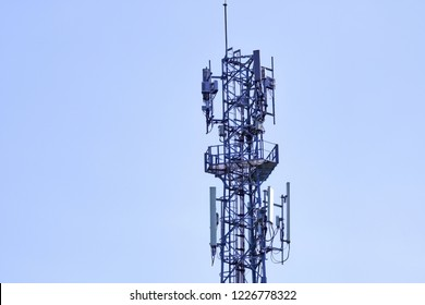 Cellular Base Station or Base Transceiver Station. Telecommunication tower. Wireless Communication Antenna Transmitter. 3G, 4G and 5G Cell Site.