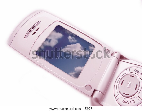 Cellular Camera Phone with Clouds on the screen, phone has pink tint to it.