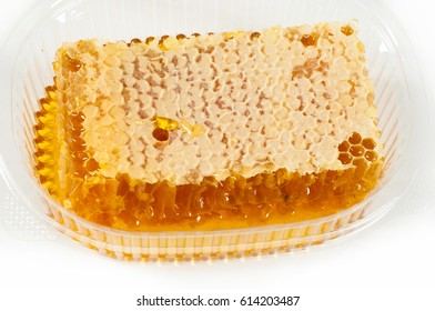 Cellular. Honey. The structure of hexagonal cells of wax, made by bees for storing honey and eggs.