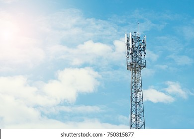Cellular phone antennas urban area with sky background.